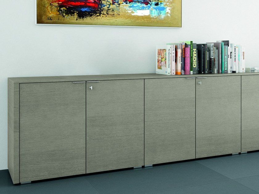 Oak office storage unit METAR | Office storage unit with hinged doors by Bralco