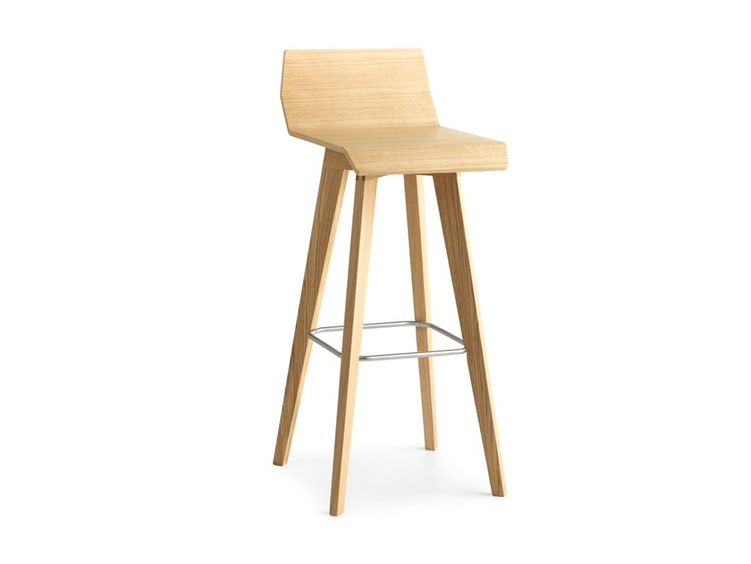 High wooden stool with footrest METRIA | High stool by Passoni