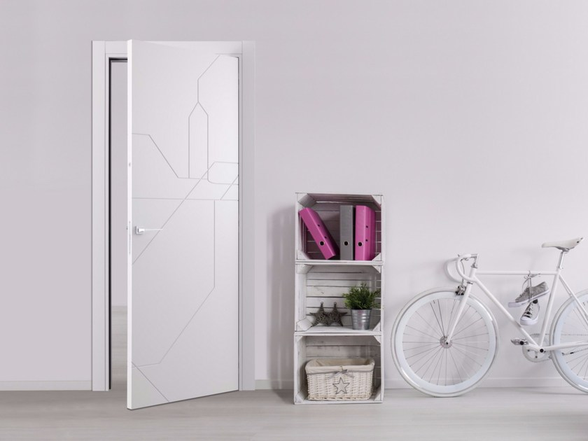 Hinged lacquered door with concealed hinges METRO MAP   Hinged door by Bertolotto Porte