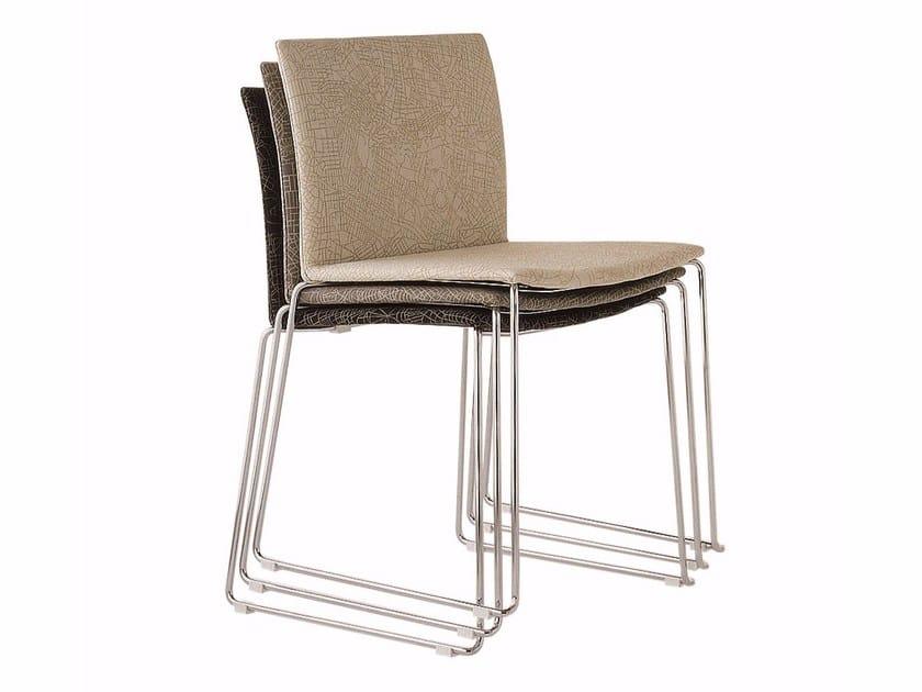 Sled base stackable fabric chair METROPOLIS   Fabric chair by Cizeta L'Abbate