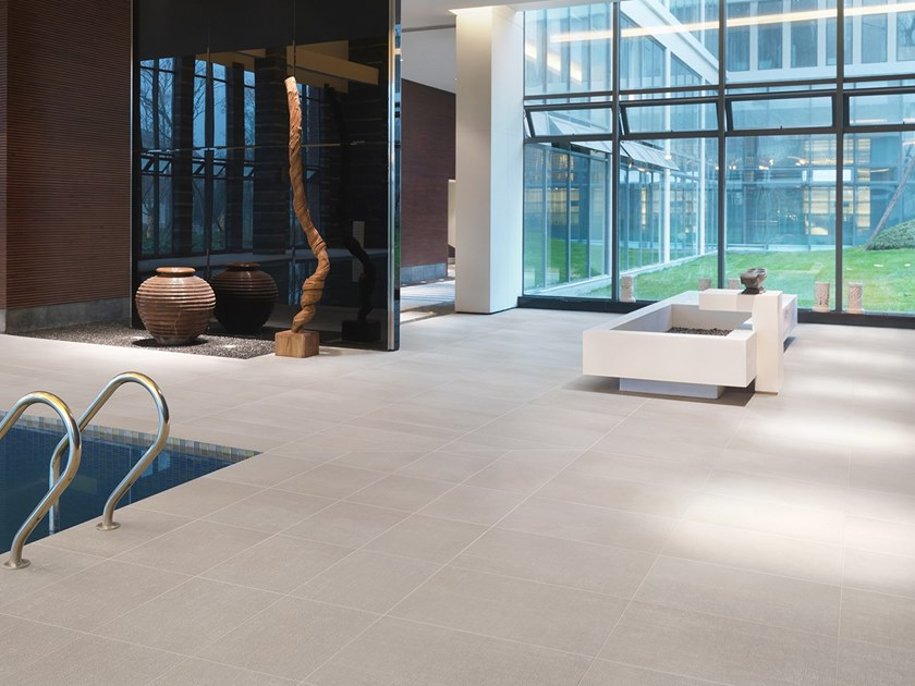 Antibacterial wall/floor tiles with concrete effect METROPOLIS TOKYO WHITE by LEA CERAMICHE