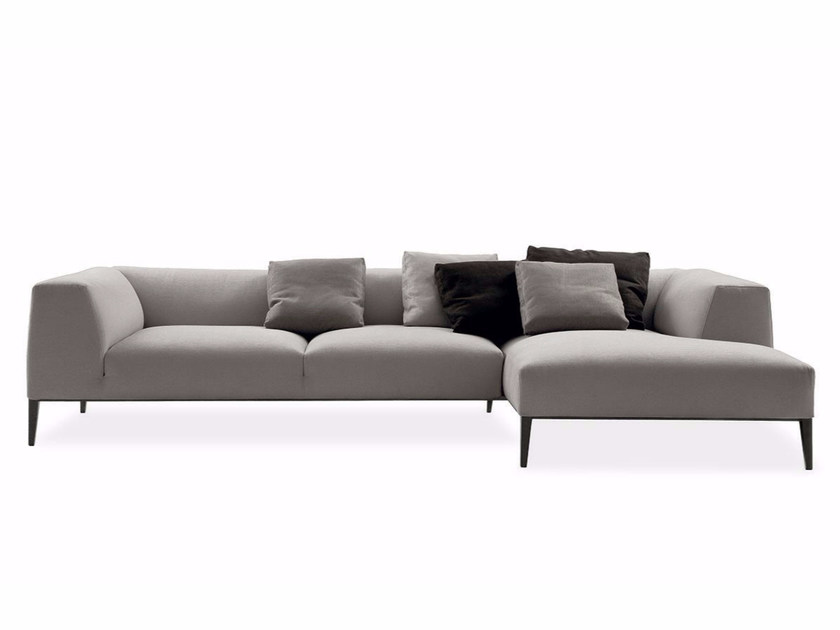 Fabric sofa with removable cover with chaise longue METROPOLITAN | Sofa with chaise longue by poliform