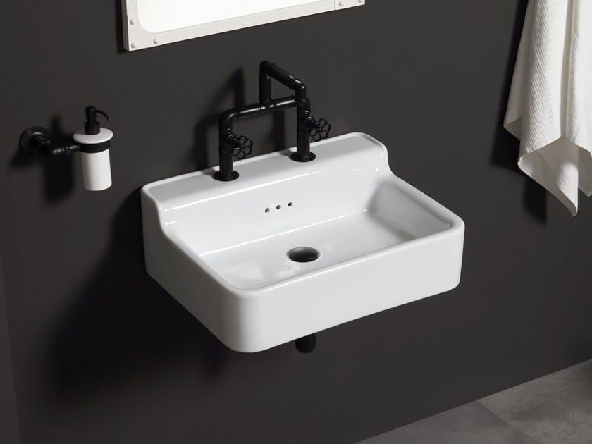 Rectangular wall-mounted ceramic washbasin METROPOLITAN   Wall-mounted washbasin by BLEU PROVENCE