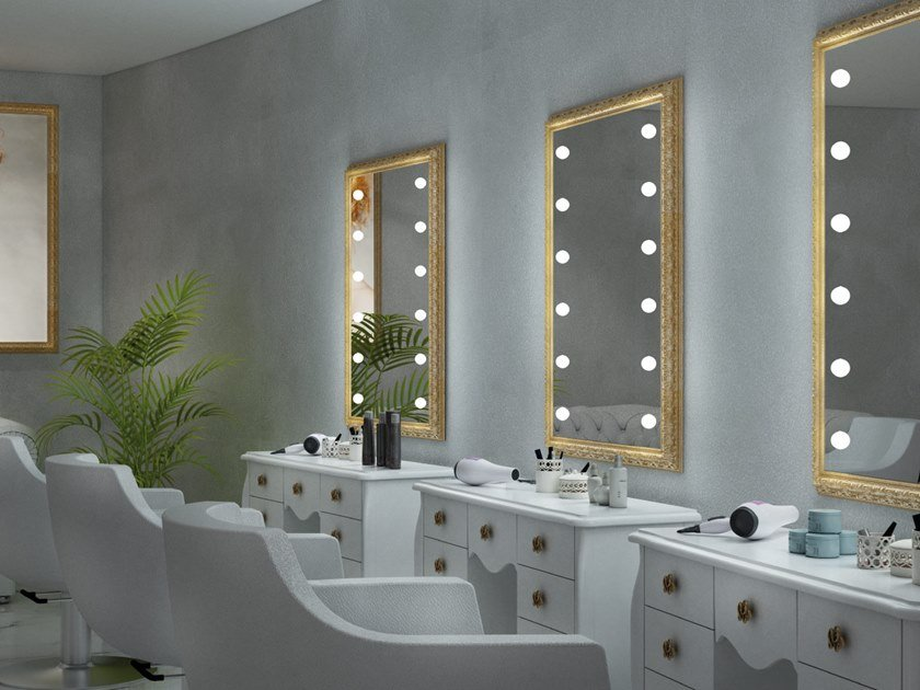 Wall-mounted rectangular wooden mirror with integrated lighting MF BAROQUE by UNICA by Cantoni