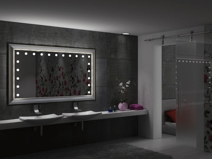 Wall-mounted rectangular wooden mirror with integrated lighting MF LEGNO by UNICA by Cantoni