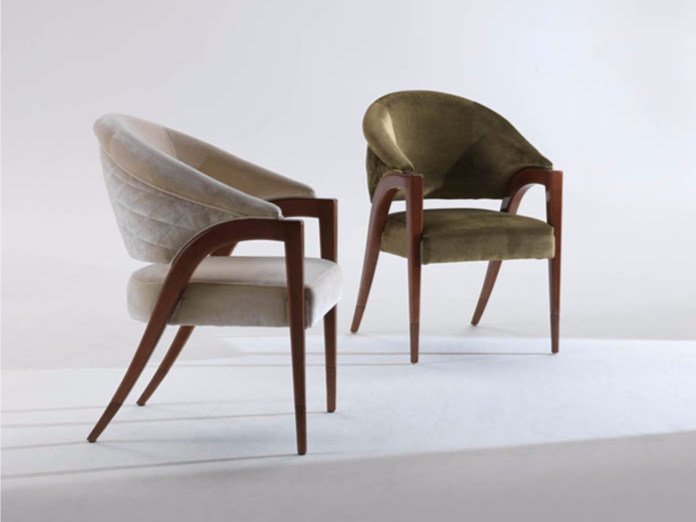 Upholstered fabric chair with armrests LITTA by Rozzoni