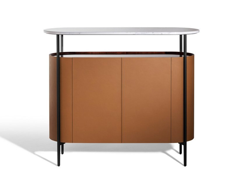 Tanned leather highboard with doors and marble top MI | Highboard by Poltrona Frau