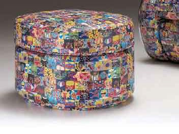 Upholstered round pouf MIAMI SWING | Pouf by Mirabili
