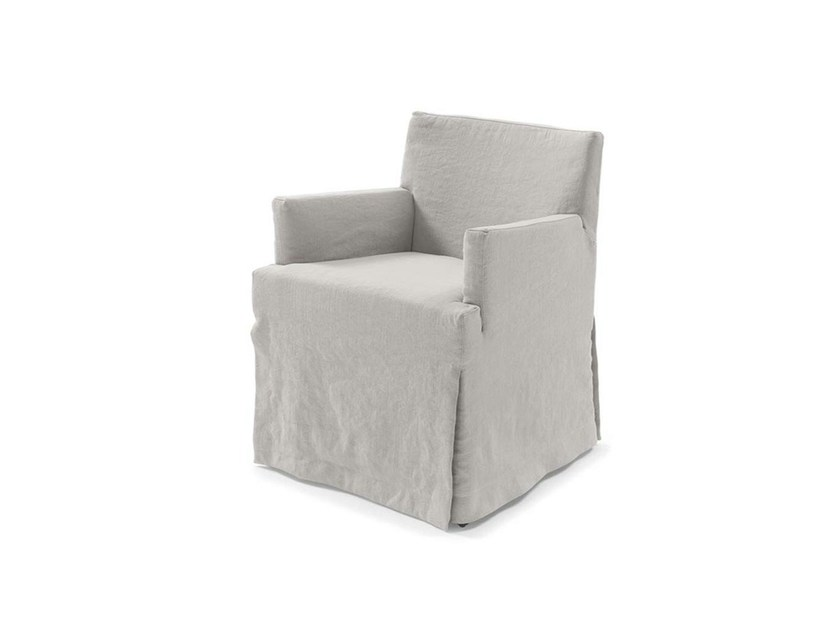 Chair with removable cover with armrests MICOL by Frigerio Salotti