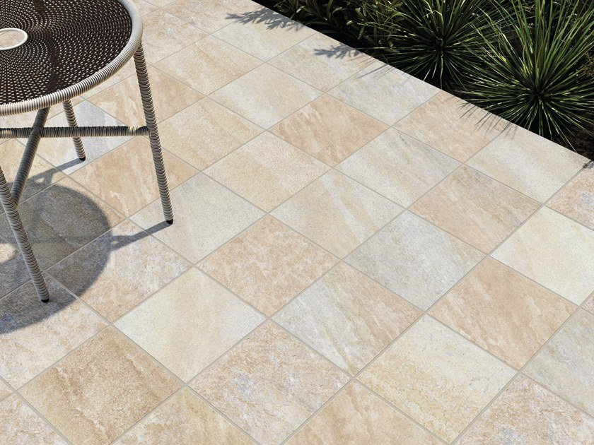 Porcelain stoneware outdoor floor tiles MIDLAKE QUARTZBEIGE by CERAMICHE KEOPE