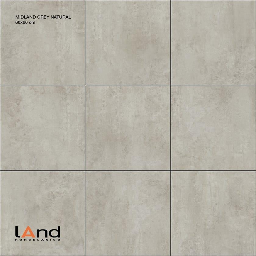 Pavimento/rivestimento in gres porcellanato tecnico effetto cemento MIDLAND GREY by Land Porcelanico