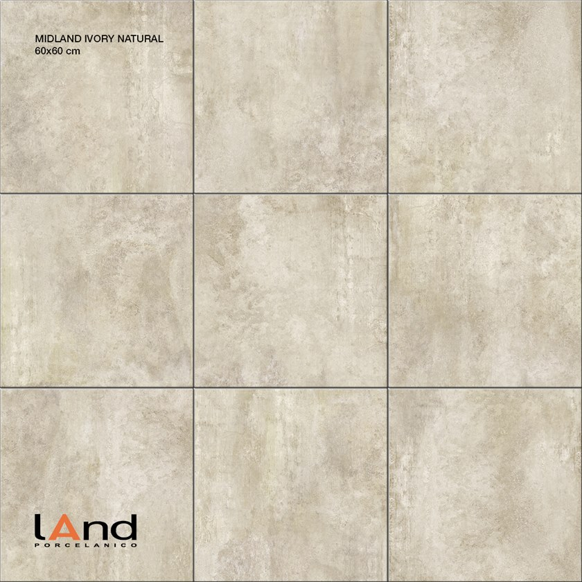 Technical porcelain wall/floor tiles with concrete effect MIDLAND IVORY by Land Porcelanico