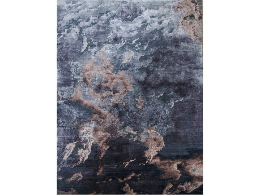 Handmade rectangular rug MIDNIGHT CLOUDS by EBRU