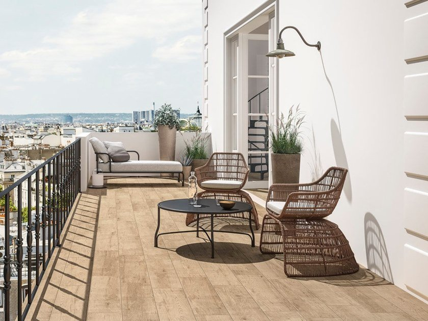 Indoor/outdoor porcelain stoneware wall/floor tiles with wood effect MIEL by GranitiFiandre