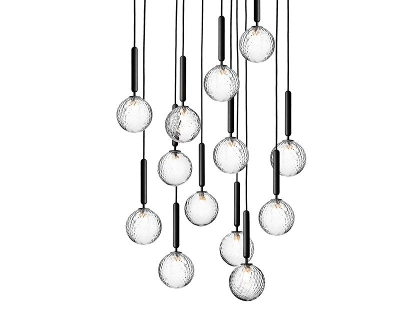 Direct light blown glass pendant lamp MIIRA 13 OPTIC by Nuura