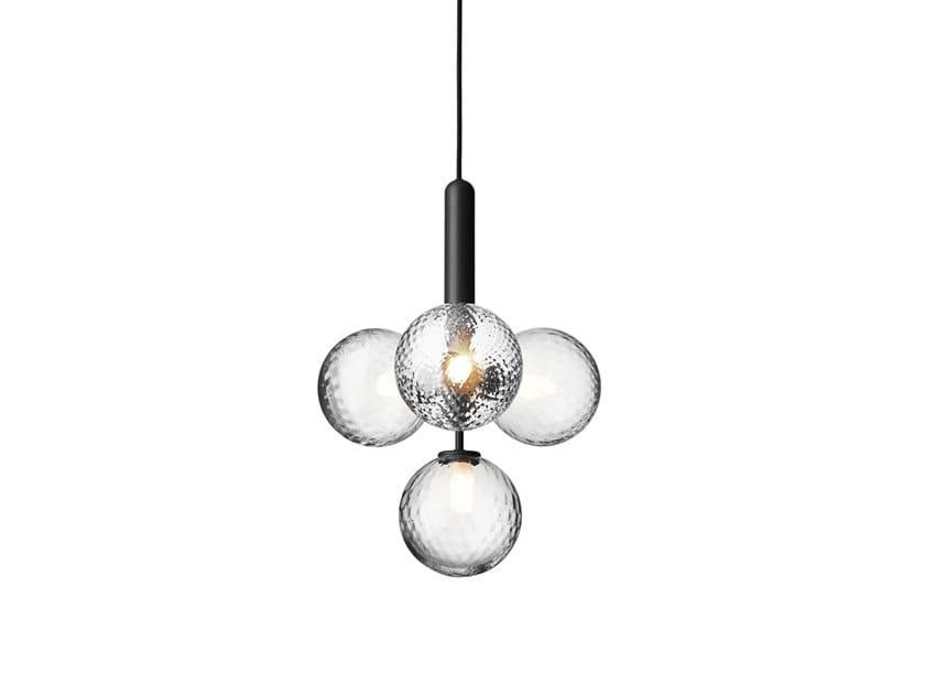 Direct light blown glass pendant lamp MIIRA 4 OPTIC by Nuura