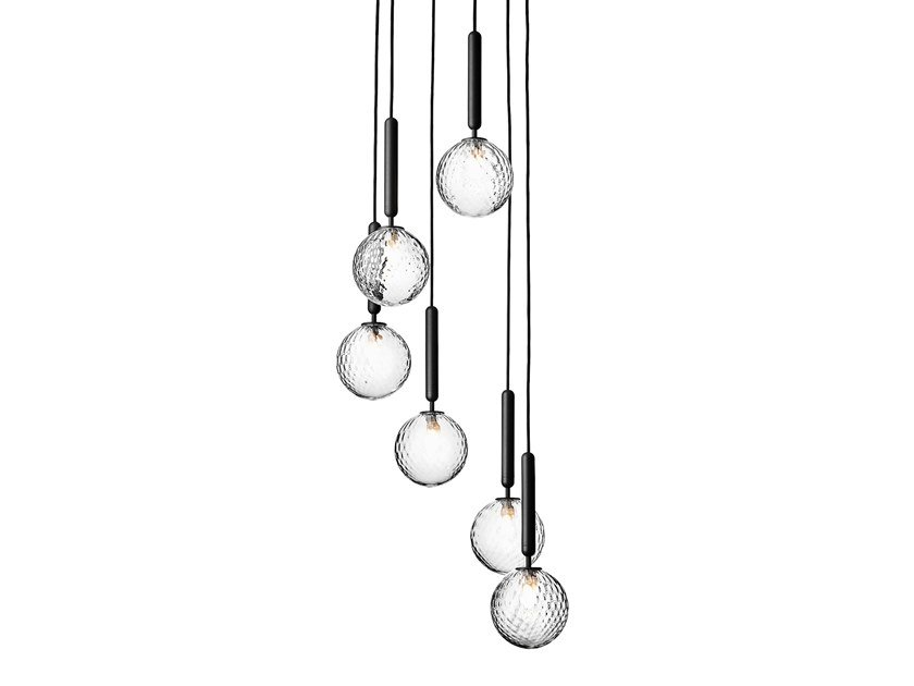 Direct light blown glass pendant lamp MIIRA 6 OPTIC by Nuura