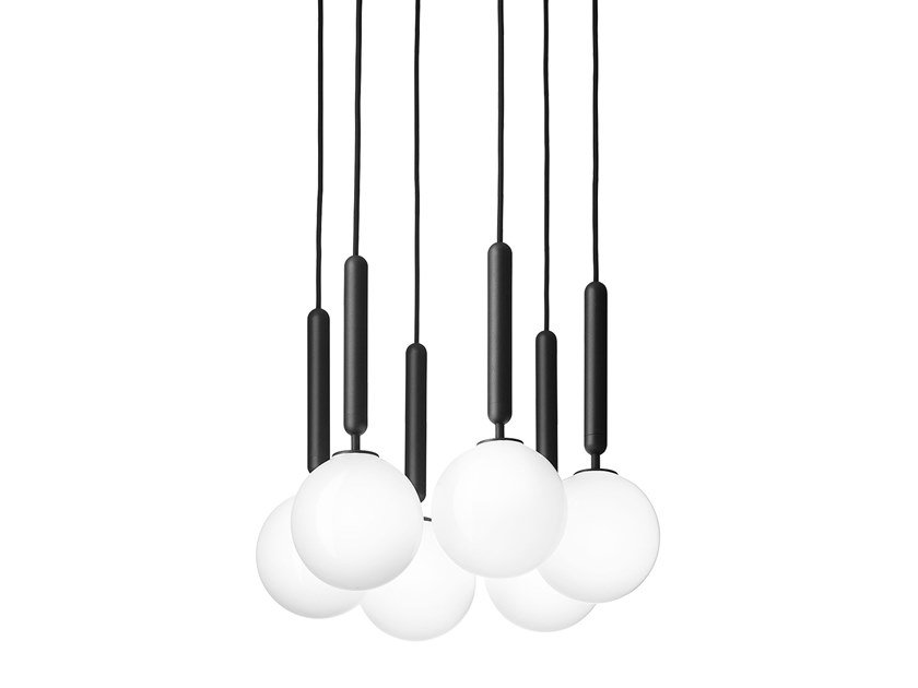 Direct light blown glass pendant lamp MIIRA 6 OPAL by Nuura