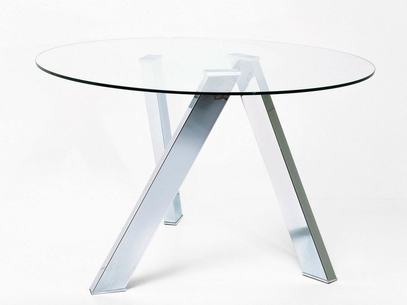 Round glass and steel table MIKADO by KARE-DESIGN