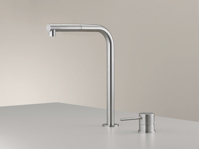 2 hole stainless steel kitchen mixer tap with pull out spray MIL 209 by Ceadesign