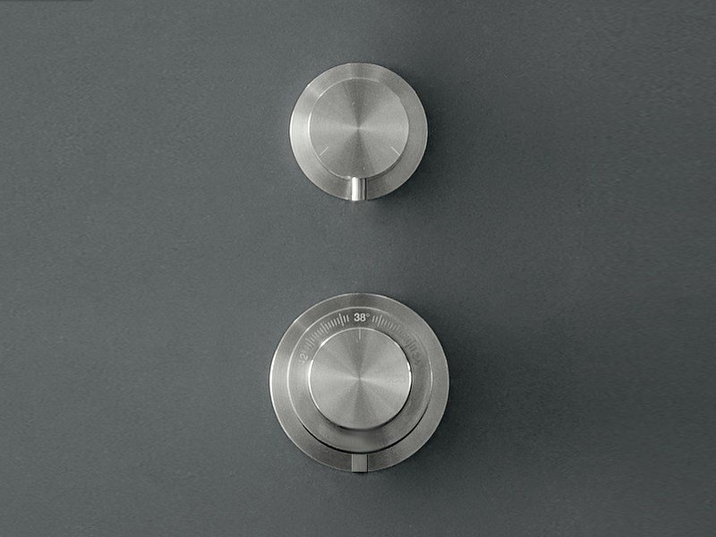 Coaxial thermostatic mixer set with combined flow diverter MIL 65 by Ceadesign