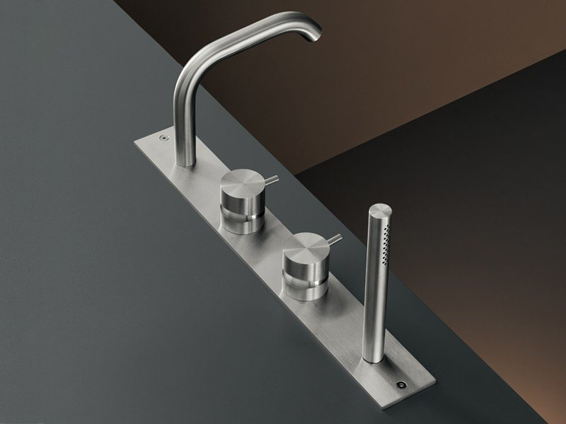 Rim mounted set of 2 mixers with spout and hand shower MIL 88 by Ceadesign