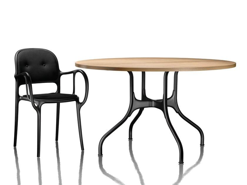 Tavolo Da Pranzo Rotondo : Tavolo da pranzo rotondo in alluminio e legno milÀ tavolo in