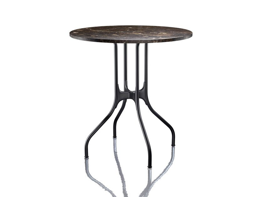 Round Nero Marquina marble table MILÀ | Nero Marquina marble table by Magis