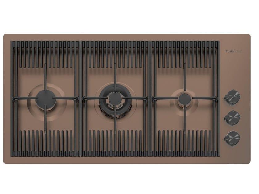 Piano cottura a gas filo top in acciaio inox MILANELLO 3F FT COPPER BRONZE by Foster