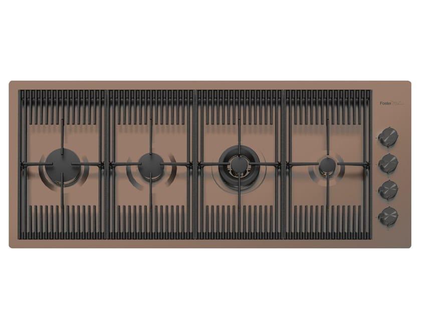 Piano cottura a gas filo top in acciaio inox MILANELLO 4F FT COPPER BRONZE by Foster