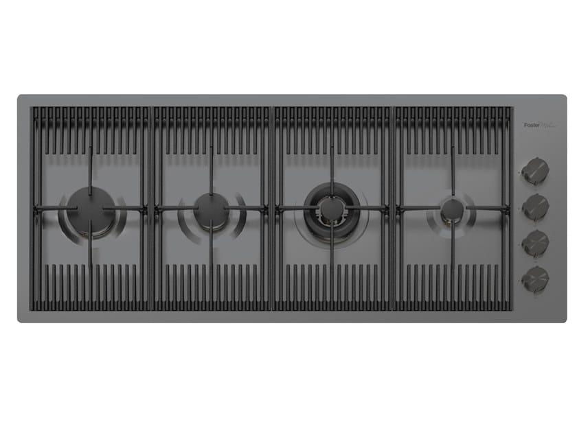 Piano cottura a gas filo top in acciaio inox MILANELLO 4F FT GUNMETAL by Foster
