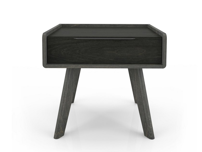 Rectangular birch bedside table with drawers MILES   Rectangular bedside table by Huppé