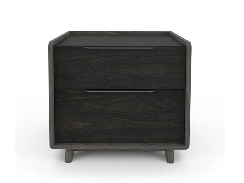 Square birch bedside table with drawers MILES | Square bedside table by Huppé