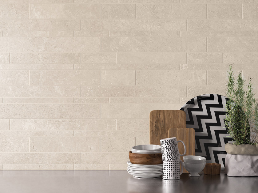 Porcelain stoneware wall/floor tiles with stone effect MILESTONE WHITE by EmilCeramica by Emilgroup