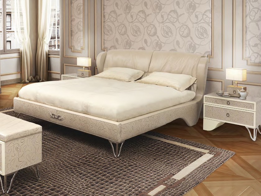 Leather double bed with upholstered headboard MILLA | Bed by Formitalia