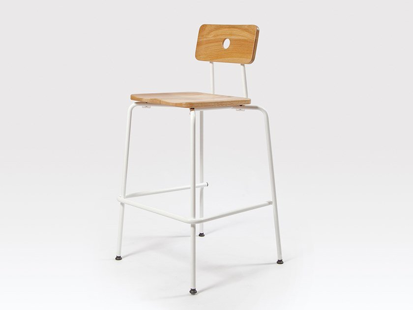 Stackable steel and wood barstool MILNE | Barstool by Liqui Contracts