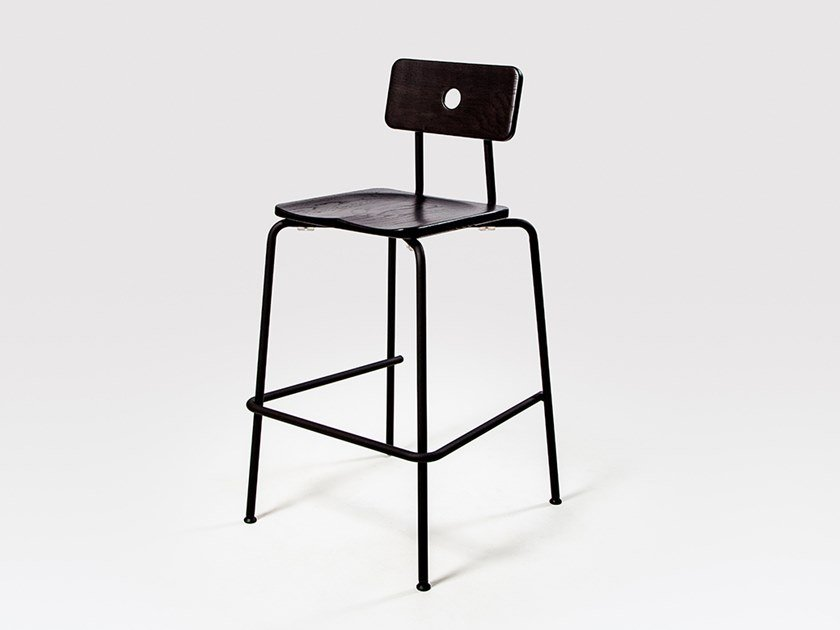 Stackable steel and wood barstool MILNE | Stool by Liqui Contracts