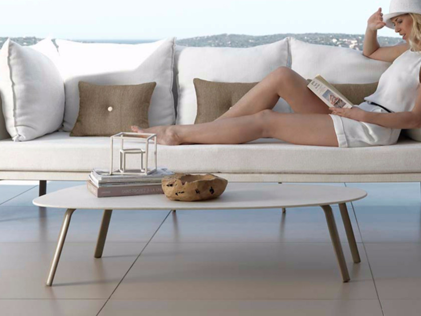 Low aluminium garden side table MILO FABRIC | Coffee table by Talenti