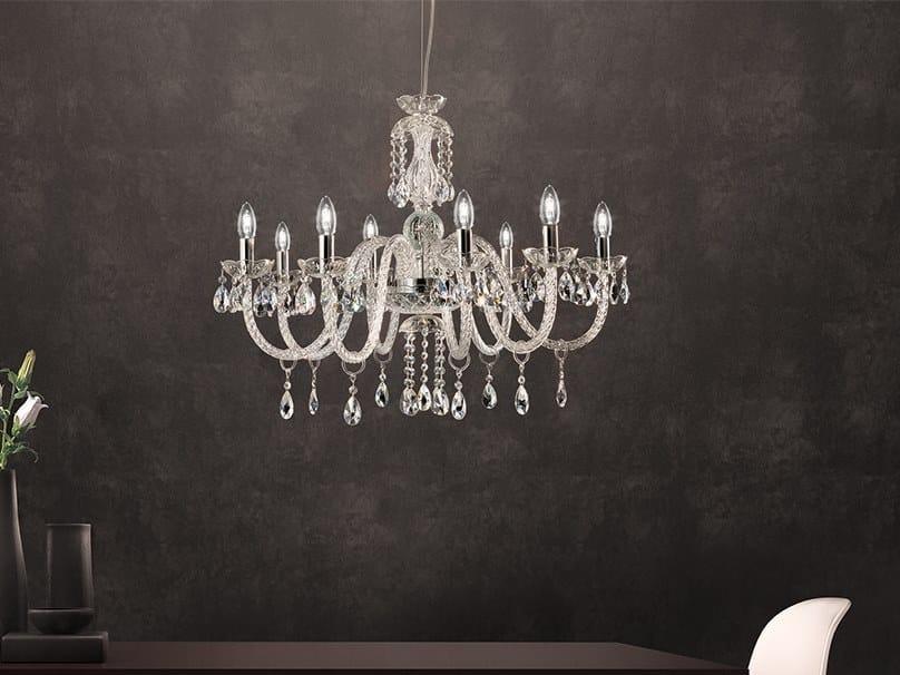 Lampadario a luce diretta in vetro con cristalli MILORD 8 by Masiero