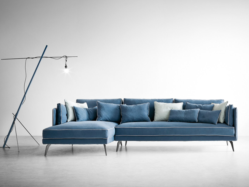 Cotton Sofa With Chaise Longue MILTON | Sofa With Chaise Longue By  Dallu0027Agnese