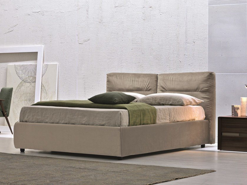Storage bed double bed with upholstered headboard MIMOSA by Febal Casa
