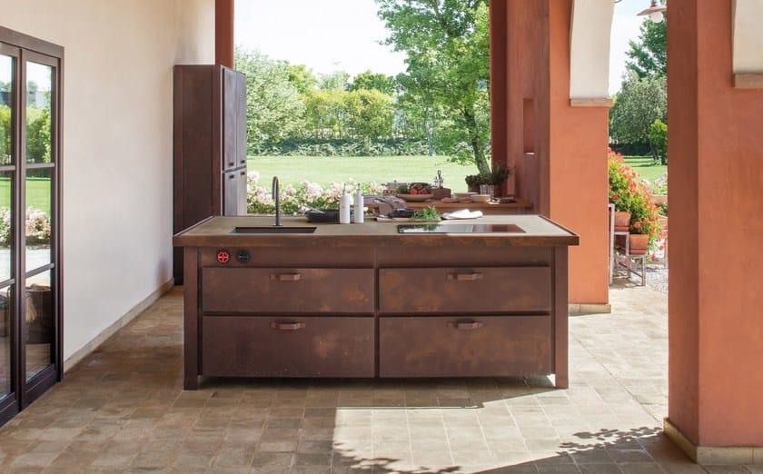 Küche Aus Stahl Für Gewerbe Mit Kücheninsel MINÀ RUGGINE | Küche By  Minacciolo