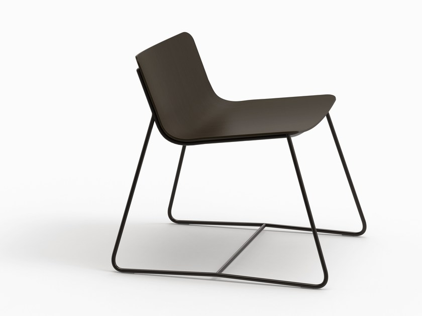 Sled base wooden lounge chair MINA by FARELL