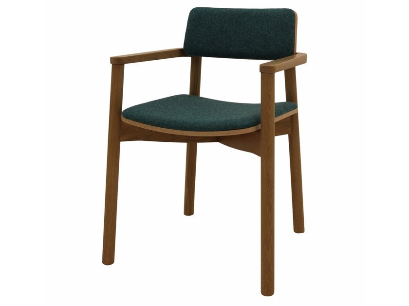 Upholstered stackable fabric chair with armrests MINE 04 + A by Z-Editions