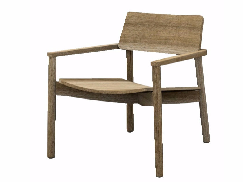 Wooden easy chair with armrests MINE LOUNGE + A by Z-Editions