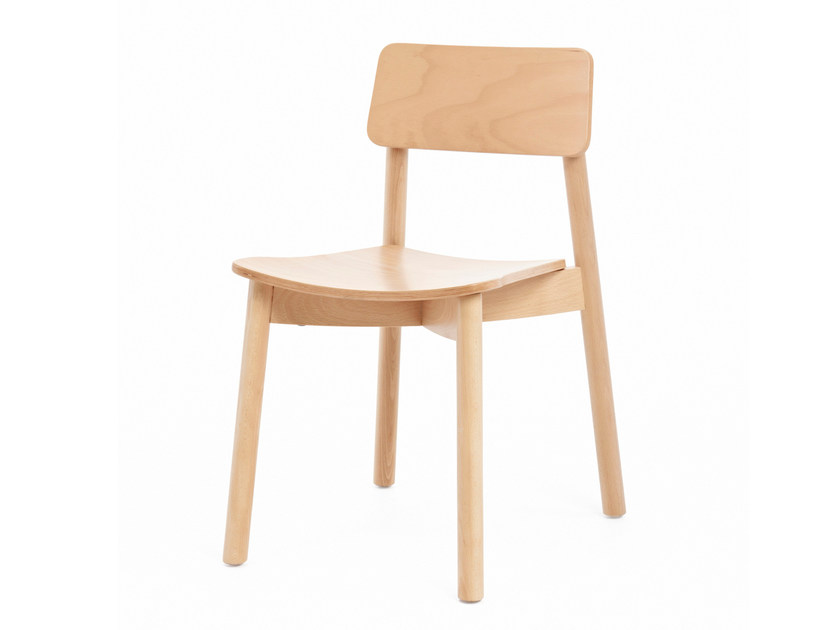 Stackable wooden chair MINE ST by Z-Editions