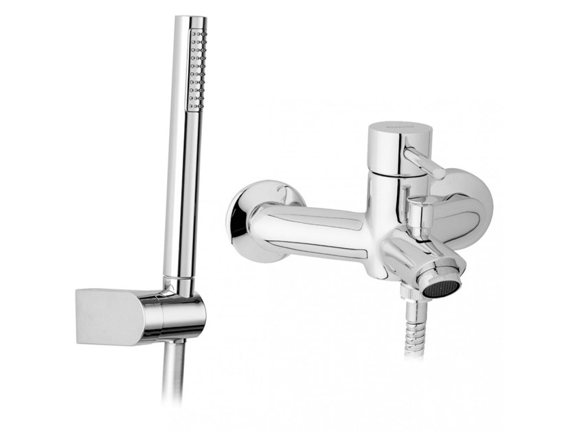 Wall-mounted bathtub mixer with hand shower MINI | Bathtub mixer with hand shower by BIANCHI RUBINETTERIE