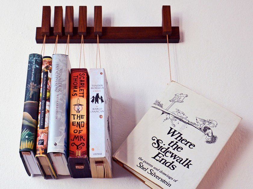 Wall-mounted solid wood bookcase MINI BOOK RACK | Walnut bookcase by AGUSTAV