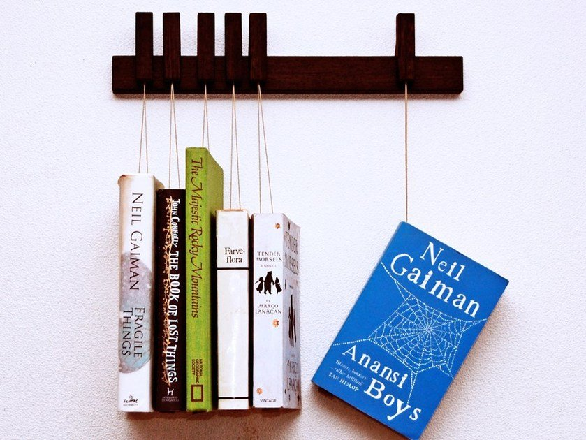Wall-mounted solid wood bookcase MINI BOOK RACK | Wenge bookcase by AGUSTAV