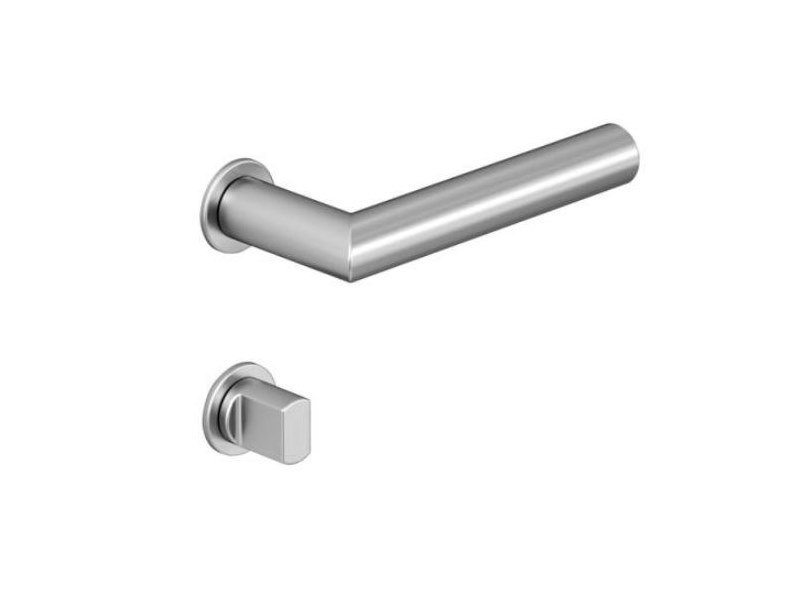 Stainless steel lock / door handle MINI MITRED | Metal door handle by HEWI